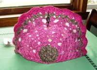Homespun Crocheted Pink and Brown Tea Cozy