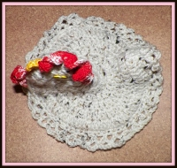 Beige tweed chicken potholder