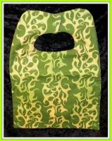 Green and yellow flame bib