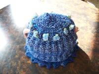 Royal Blue Homespun Tea Cozy With Light Blue Satin Roses