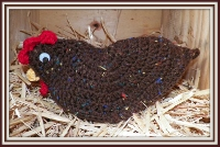 #Cro ph2 Brown Crocheted Chicken Pot Holder