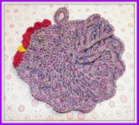 Chicken Pot Holder in Purple Tweed