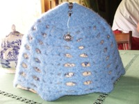 Light Blue Felted Crocheted Tea Cozy