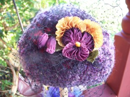 Homespun Crocheted Hat With Vintage Millinery