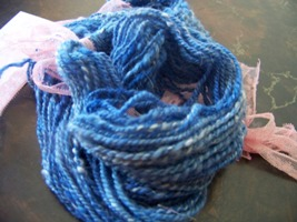 Blue Merino Wool and White Angora Rabbit Wool Homespun Yarn