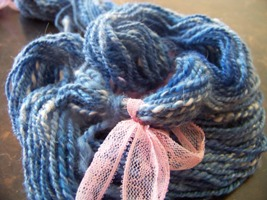 Blue Merino and White Angora Homespun Yarn